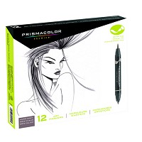 Prismacolor Brush  Tip Marker 12  Warm Grey Set