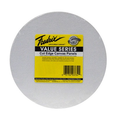 Fredrix Value Series Cut Edge Canvas Panel Round 8 Inch 6 Pack