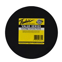 Fredrix Value Series Cut Edge Black Canvas Panel Round 12In 6 Pack