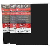 Pack Of 6 Fredrix Artist Series Red Label Stretch  Black Canvas 16X20
